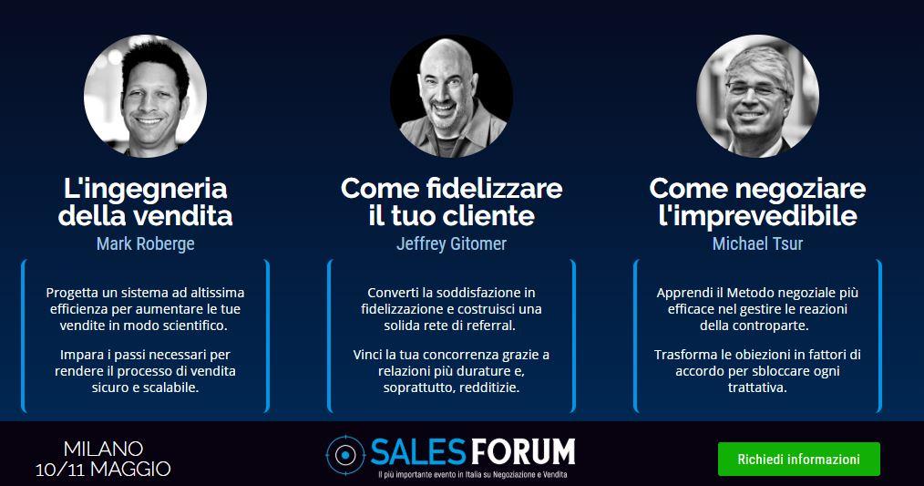 argomenti evento sales forum 10 e 11 maggio 2019 a milano vendite inbound performance strategies