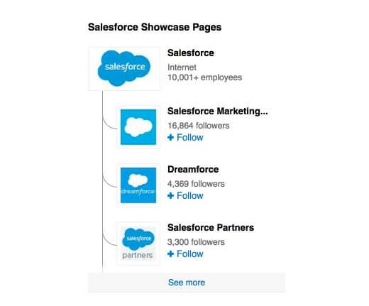 Salesforce showcase linkedin